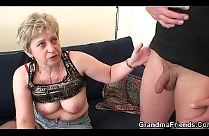 She warms up her old cunt before duo cocks