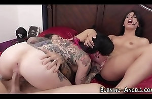 Inked goth swapping sex cream