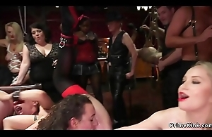 Two hot slaves shafting at bdsm fuckfest