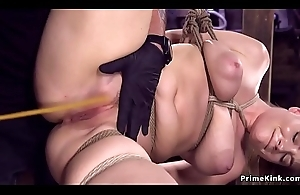 Hawt ass toddler in hogtie whipped and caned
