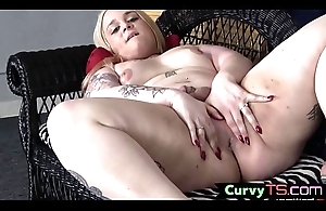 Trans BBW teases her asshole in the long run b for a long time jerking off