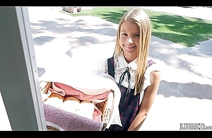 This babe looks so innocent and cute selling vaginas fro her little dress...gets fucked hard and takes a tax on her adorable and pretty face (Asuna Fox)
