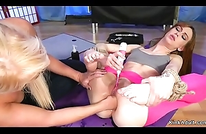 Yoga lesbians anal toying added to fisting